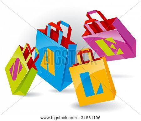 "Paper Bags for shopping with ""SALE"" inscription. Rasterized version"