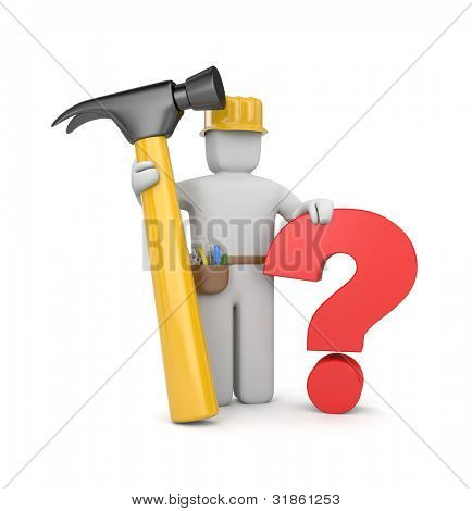 3d worker with hammer and question
