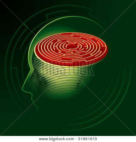 Labyrinth Mind. Human head psychology symbol. Rasterized version