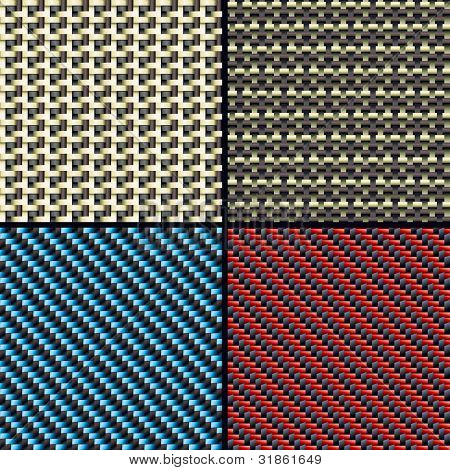Set of four carbon fiber,  kevlar and decorative fabric seamless patterns. Rasterized version