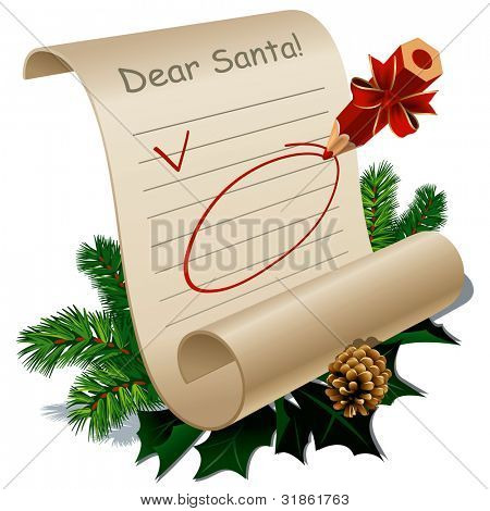 Letter to Santa Claus With Blank Guidelines. Rasterized version