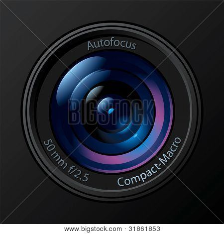 Front View of Photo Camera Lens. Rasterized version