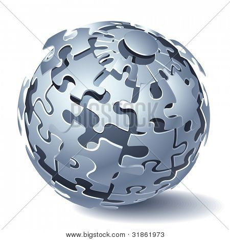 Jigsaw puzzle sphere. Dynamic Explosion. Rasterized version