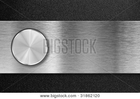 knob button on metal aluminum plate
