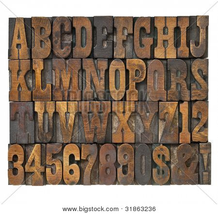 letters and numbers in vintage letterpress wood type - alphabet in French clarendon typeset