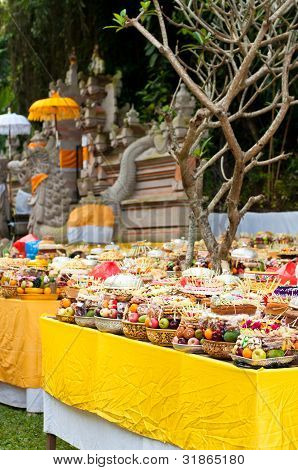 Offering In Bali Hindu Temple