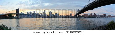 Wide angle panorama of new york city