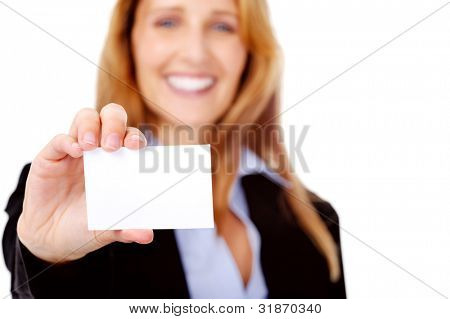 friendly businesswoman with blank businesscard smiling and happe