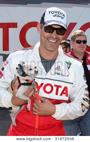 LOS ANGELES - APR 3:  Eddie Cibrian with assistance dog at the 2012 Toyota Pro/Celeb Race Press Day at Toyota Long Beach Grand Prix Track on April 3, 2012 in Long Beach, CA