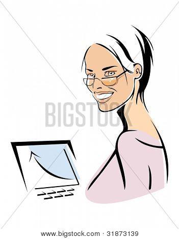 Vektor-Bild von smiling Businesswoman und wachsende Graph. isoliert auf weiß