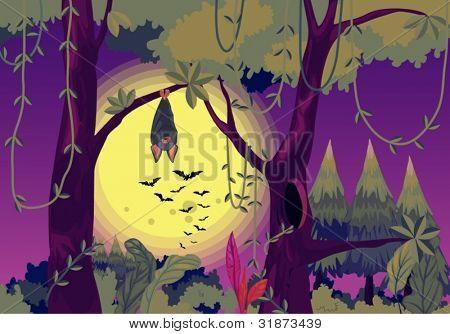Illustration of a bat hanging at night