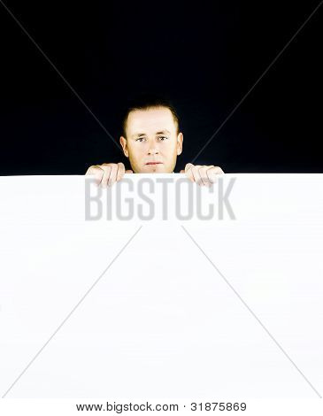 Honourable Man Holding Large Blank Board