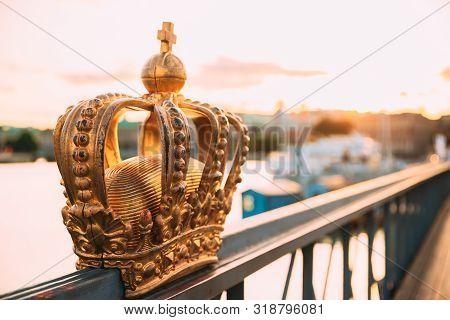 poster of Stockholm, Sweden. Skeppsholmsbron - Skeppsholm Bridge With Its Famous Golden Crown In Stockholm, Sw