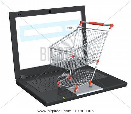Conceptual image - virtual shopping. Objects isolated over white