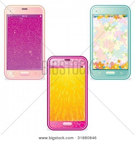 Set of Cute Touchscreen Phones
