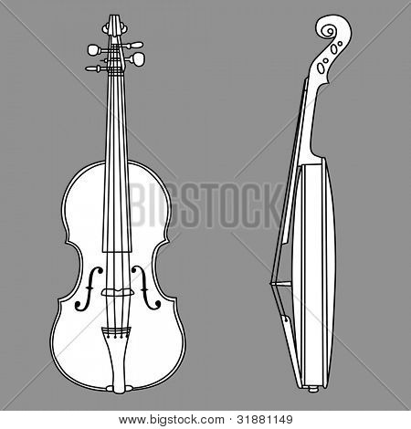violin on gray background
