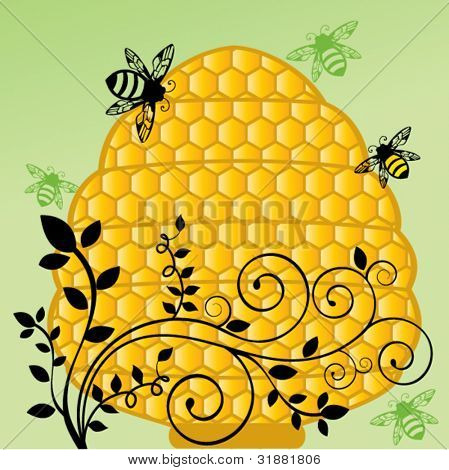 Honeycomb bee hive with flourish vine