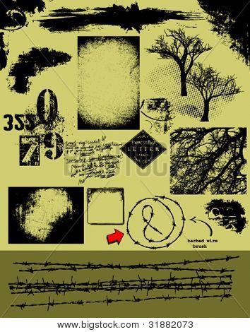 Grunge Vector Pack_ barbed wire brush, backgrounds, overlays, textures, trees, corners and other grunge design elements for graphic artists and designers