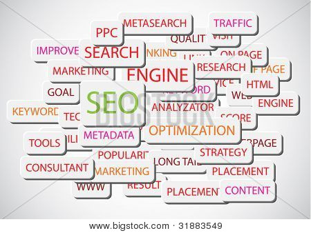 SEO - Search Engine Optimization vector background illustration