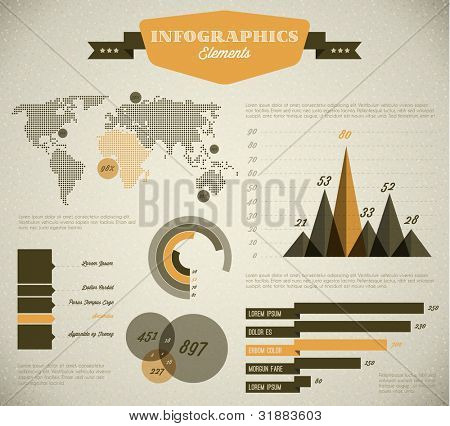 Yellow Vector  retro / vintage set of Infographic elements for your documents and reports