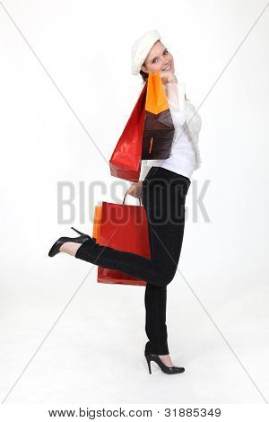 Retired woman with bags