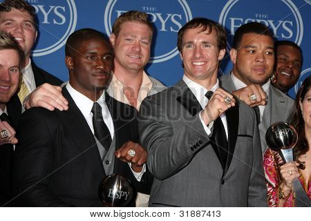 LOS ANGELES - JULY 14:  Reggie Bush, Jeremy Shockey, Drew Brees, New Orleans Saints - ESPY for Best Team in the Press Room of the 2010 ESPY Awards on July 14, 2010 in Los Angeles, CA