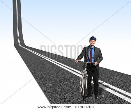 smiling businessman with bike and 3d asphalt way