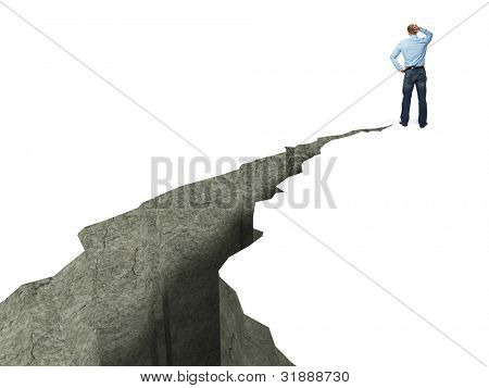 standing man and 3d crack on floor