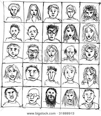 Composition of hand-drawn portraits
