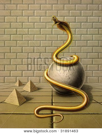 Golden Snake In Surreal Ambiance