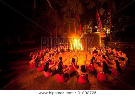 BALI, INDONESIA - APRIL 4: Presentation of traditional balinese Women Kecak Fire Dance on April 4, 2012 on Bali. Kecak (also known as Ramayana Monkey Chant) is very popular cultural show on Bali.