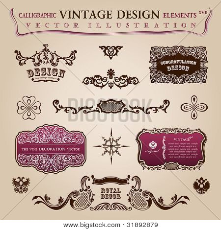 Calligraphic vintage elements labels. Congratulation and page decoration objects. Vector frames ornament