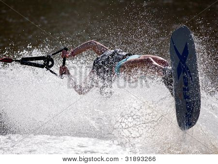 MELBOURNE, AUSTRALIA - MARCH 11: Iris Cambray of France in the trick event at the Moomba Masters on March 11, 2012 in Melbourne, Australia