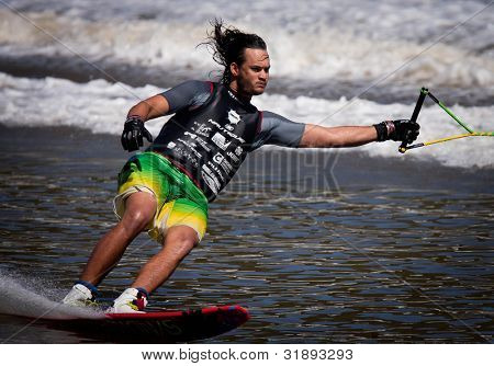 MELBOURNE, AUSTRALIA - MARCH 12: Jonathan Travers of the USA in the Slalom event at the Moomba Masters on March 12, 2012 in Melbourne, Australia