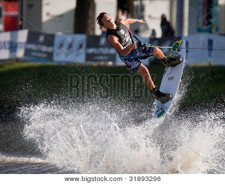 MELBOURNE, AUSTRALIA - MARCH 12: Corey Teunissen in the wakeboard event at the Moomba Masters on March 12, 2012 in Melbourne, Australia