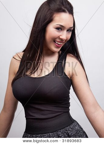 Happy cheerful young woman with sexy body