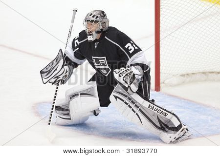 LOS ANGELES - 28 de NOV: Los Angeles Kings G Jonathan Quick #32 durante o jogo da National Hockey League
