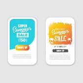 Modern Liquid Mobile Sale Banners Set . Hot Sale Banner Design Template , Super Sale Special Offer W poster