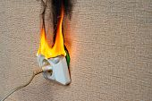Burning Electrical Wiring And Electrical Outlet. Faulty Wiring Causes Fires. Poor Old Wiring Causes  poster