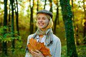 Autumn Woman. Autumnal Mood. Autumn Woman With Autumnal Mood. Autumn Beauty. Outdoor Portrait Gorgeo poster