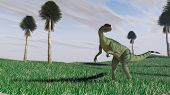 stock photo of dilophosaurus  - dilophosaurus on grass plane - JPG