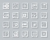Safe Paper Cut Art Icons Set. 3d Sign Kit Of Bank Cell. Keep Money Pictogram Collection Includes Clo poster