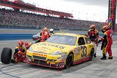 FONTANA, CA. - FEB 21: Clint Bowyer driver of the Cheerios / Hamburger Helper #33 car during the Aut