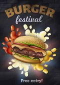 Burger Festival Vertical Banner With Tasty Hamburger With Cheese, Meat And Ketchup, Mayonnaise, Must poster