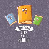 Back To School Banner Or Poster With Cartoon Funky Book And Hand Drawn Doodle Text Label On Grey Doo poster