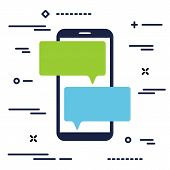 Mobile Phone With Chat Message Notifications. Smartphone And Chatting Bubble Speeches. Text Messagin poster