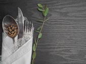 Traditional Christmas Table Place Setting. Festive Place Setting For New Year Dinner. Beautiful Cutl poster
