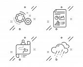 Report Document, Journey Path And Gears Line Icons Set. Rainy Weather Sign. Growth Chart, Project Pr poster