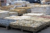 Tiles For Decoration And Design In Construction. Construction Materials. Brown Stones Are Sold In Co poster