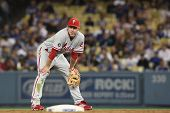 LOS ANGELES - 30 de agosto: Phillies 2B (#26) Chase Utley durante o jogo de Phillies vs Dodgers em ago 30 2